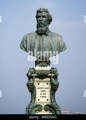 Benvenuto Cellini (1500-1571). Italian sculptor. Bust of Cellini in the Ponte Vecchio (Old Bridge) by Raffaello Romanelli (1856-1928), inaugurated in 1901 to commemorate the 4th centenary of his birth. Florence. Italy. - Stock Photo