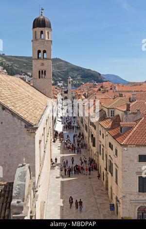 Stradun with Franciscan Monastery (left), old town, Dubrovnik, Croatia - Stock Photo