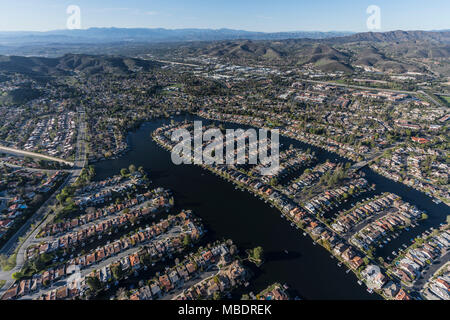 Aerial view of Westlake Island and lake in Thousand Oaks and Westlake Village neighborhoods in Southern California. - Stock Photo