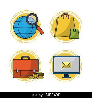 Set of digital marketing icons - Stock Photo
