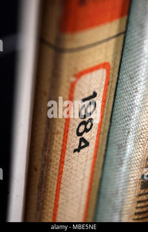 1984 George Orwell title printed in book spine, close-up - Stock Photo