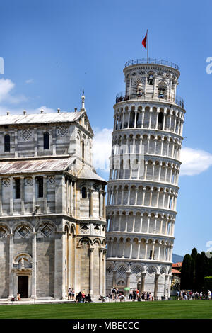 The Duomo and iconic Leaning Tower in Pisa's Square of Miracles, Italy Pisa, Italy, Italian. - Stock Photo