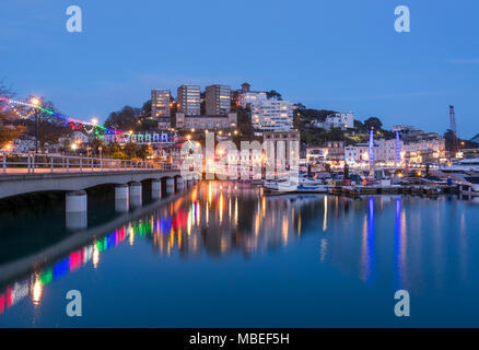Torquay Harbour At Dusk - Stock Photo