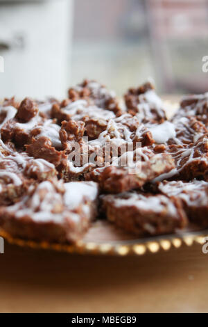 Mums gooey chocolate oat bars. - Stock Photo