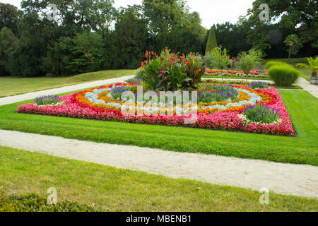 Chateau park Lednice with flowers and trees. - Stock Photo