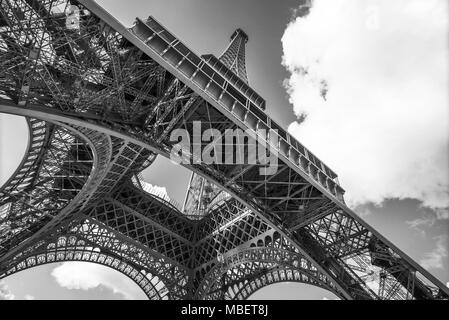 The Eiffel Tower, view from below, Paris France - Stock Photo