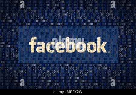 GALATI, ROMANIA - 10 APRIL 2018: Facebook data security and privacy issues. Data encription concept - Stock Photo