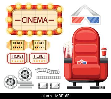 Set of cinema objects. Cinema seat, glasses, tickets, film roll,reel and strip. Twisted cinema tape. Cartoon style design. Vector illustration isolate - Stock Photo