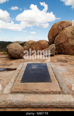 Grave of Cecil John Rhodes in Matobo National Park, Zimbabwe. The country was once named Southern Rhodesia, after Rhodes. - Stock Photo