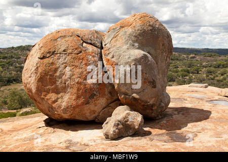 Boulder by the grave of Cecil John Rhodes in Matobo National Park, Zimbabwe. The country was once named Southern Rhodesia, after Rhodes. - Stock Photo
