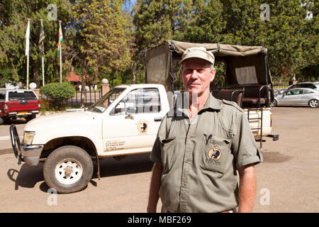 Norman, the owner of Black Rhno Safaris. The company leads tours in Matobo National Park, Zimbabwe. - Stock Photo