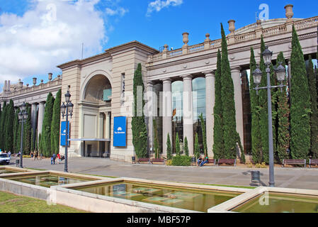 BARCELONA, SPAIN - OCTOBER 8, 2013: Barcelona Fira Montjuic Hall of Conferences, one of the most important trade show centers in Europe, Barcelona - Stock Photo