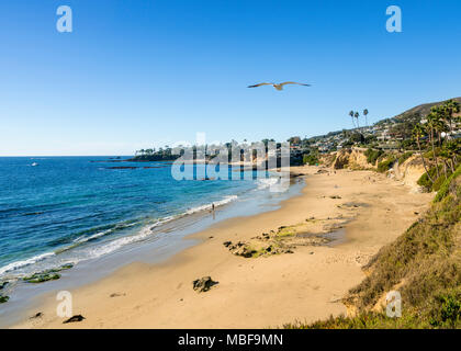 View of the sandy shoreline at Laguna Beach in California - Stock Photo