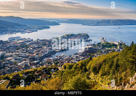 View of Bergen Norway cityscape from Floyen mountain at sunset - Stock Photo