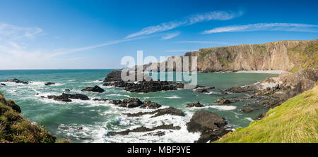 The rocky bay at Hartland Quay, Devon, England in summer - Stock Photo