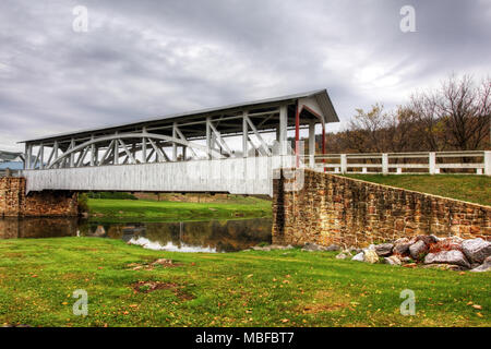 The Halls Mill Covered Bridge in Pennsylvania - Stock Photo