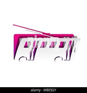 Trolleybus sign. Vector. Detachable paper with shadow at underlying layer with magenta-violet background. - Stock Photo