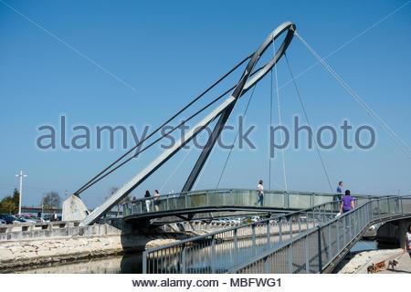 Ponte Pedonal Circular bridge in Aveiro Portugal, it is a pedestrian bridge - Stock Photo