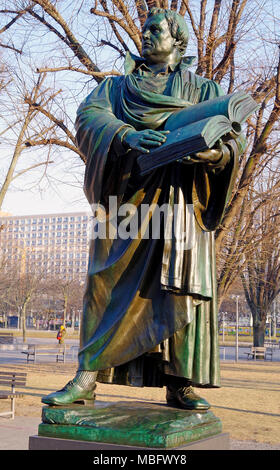 Bronze Statue of Martin Luther created in the 1890's the only surviving part of the great Luther memorial near the Marienkirche, the rest melted down - Stock Photo
