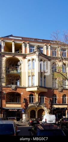 22 Motzstrasse Berlin, A fine Art Nouveau style building, by the Architect Gustav Gebhart built between 1897 and 1899 in the Schoneberg area of Berlin - Stock Photo