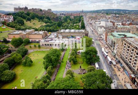 EDINBURGH, UK - AUG 9, 2012: Aerial view of Princes Street Gardens the Mound and Princes Street during the Fringe Festival - Stock Photo