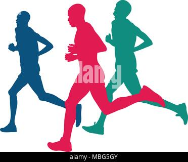 real three runners running marathon colored silhouettes - Stock Photo