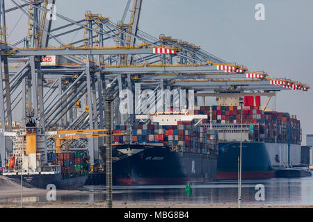 The seaport of Rotterdam, Netherlands, deep-sea port Maasvlakte 2, on an artificially created land area in front of the original coast, Rotterdam Worl - Stock Photo