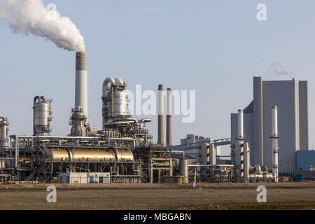 The seaport of Rotterdam, Netherlands, deep sea port Maasvlakte 2, on an artificially created land area in front of original coast, front part of the  - Stock Photo