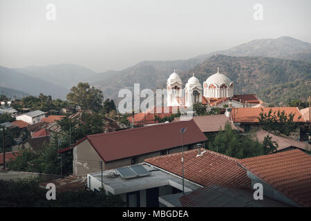 Pedoulas village in the Troodos mountains. Nicosia District, Cyprus. - Stock Photo