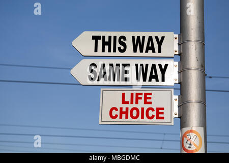 Crossroad signpost saying this way, same way, confusion or decisions - Stock Photo