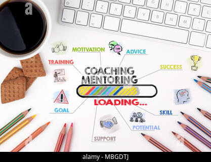 Coaching and Mentoring Concept. Chart with keywords and icons - Stock Photo