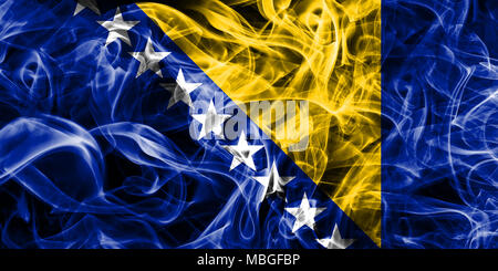 Bosnia and Herzegovina smoke flag - Stock Photo