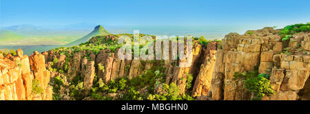 Panorama of Camdeboo National Park Valley of Desolation, Karoo in Eastern Cape near the town of Graaff-Reinet, South Africa. Summer season. Blue sky. Banner with copy space. - Stock Photo