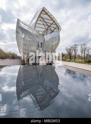 France,  Paris -   1 April 2018:  Fondation Louis Vuitton designed by Frank Gehry - Stock Photo
