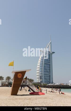 Dubai, United Arab Emirates, March 27th 2018: View of Burj Al Arab Jumeirah from Jumeirah Beach - Stock Photo