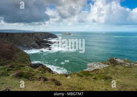 Looking towards Godrevy Lighthouse from The Knavocks on the Cornwall coast. - Stock Photo