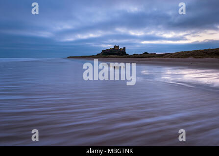 Bamburgh Castle lit up in the pre-dawn light on the Northumberland Coast. - Stock Photo