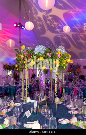 Flower arrangement and decor at Naples Botanical Gardens 2018 Spring Gala, Naples, Florida, USA - Stock Photo