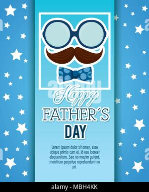 happy fathers day card with calligraphy and accessory - Stock Photo