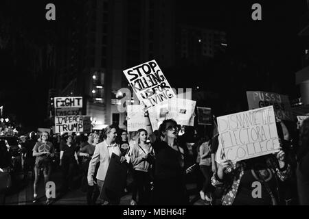 Anti-Trump Peaceful Protest in Downtown Orlando (2016). - Stock Photo