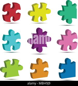 Colorful 3d jigsaw puzzle icon vector for Business idea graphic design concept - Stock Photo