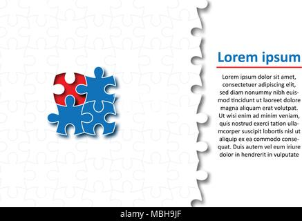 Blue pieces of paper cut Jigsaw puzzle for Business idea graphic design background concept - Stock Photo