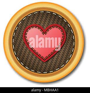 Embroidered patch work of red heart icon for vector graphic design concept idea - Stock Photo