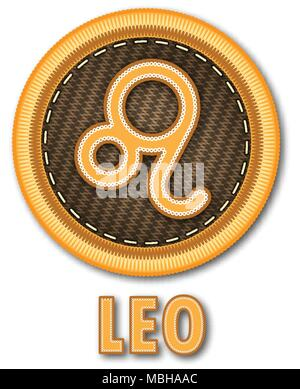 Embroidered patch work of Leo zodiac sign symbol icon for vector graphic design concept idea - Stock Photo