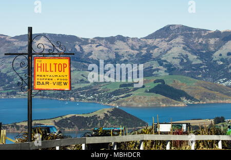View from the Hilltop Tavern looking out over Akaroa Harbour in Banks Peninsular New Zealand - Stock Photo