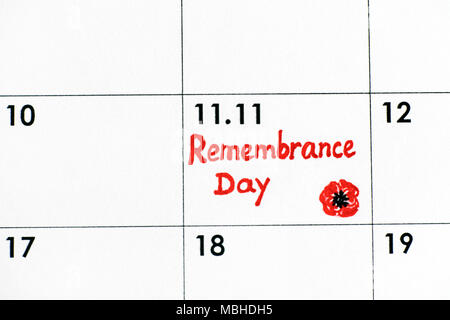 Reminder Remembrance Day in calendar. Close-up. - Stock Photo