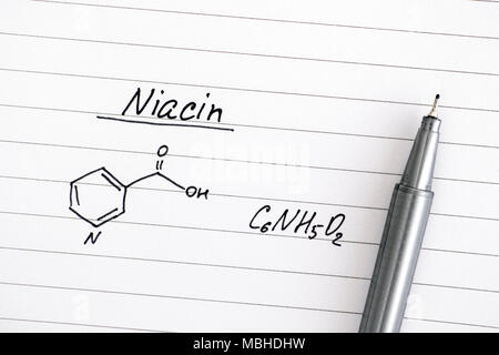 Chemical Formula Of Vitamin E On Lined Paper With Pen Close Up