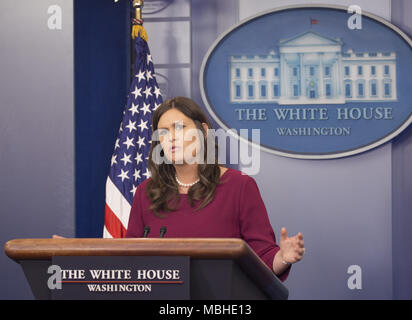 Washington, District of Columbia, USA. 10th Apr, 2018. White House spokesperson Sarah Sanders hold a news briefing at The White House in Washington, DC, March 10, 2018. Credit: Chris Kleponis/CNP Credit: Chris Kleponis/CNP/ZUMA Wire/Alamy Live News - Stock Photo
