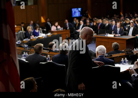 Washington, USA. 10th Apr, 2018. Senator Patrick Leahy, Democrat of Vermont, walks behind the dais as Facebook CEO Mark Zuckerberg testifies before the United States Senate on Capitol Hill in Washington, DC on April 10, 2018. Credit: The Photo Access/Alamy Live News - Stock Photo