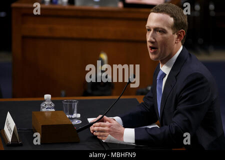 Washington, USA. 10th Apr, 2018. Facebook CEO Mark Zuckerberg testifies before the United States Senate on Capitol Hill in Washington, DC on April 10, 2018. Credit: The Photo Access/Alamy Live News - Stock Photo